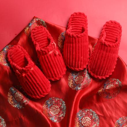 结婚家居红色情侣棉拖鞋