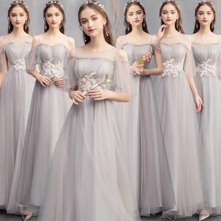 灰色长款显瘦仙气伴娘服