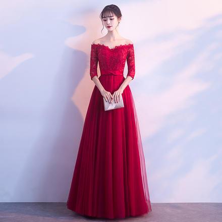 【2月3日陆续发货】红色心形一字肩气质显瘦敬酒服