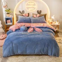 网红早安兔宝宝绒冬天四件套珊瑚绒