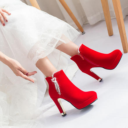秋冬保暖加绒防水台高跟婚靴