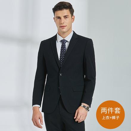 男士韩版条纹英伦风修身新郎西服两件套