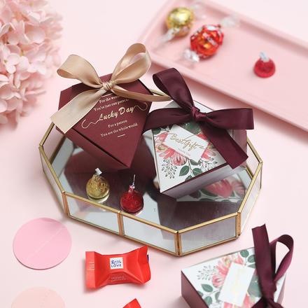 森系丝带蝴蝶结喜糖盒