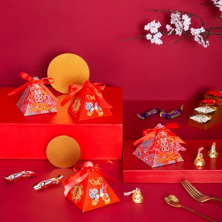 中式三角喜糖盒成品含糖