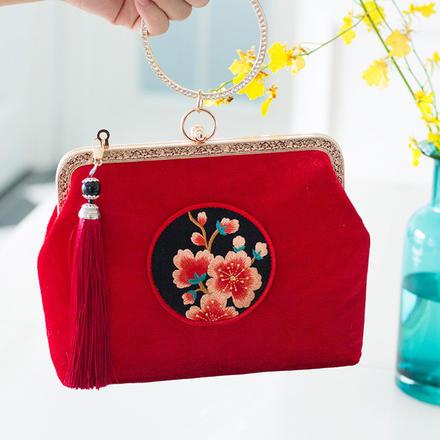 梅花刺绣古典婚包