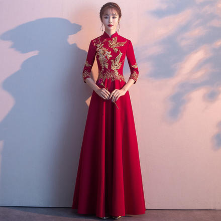 【2月3日陆续发货】时尚中袖立领气质显瘦敬酒服