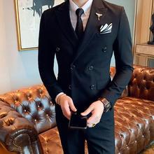 【送领结领带】男士新潮条纹结婚西服套装