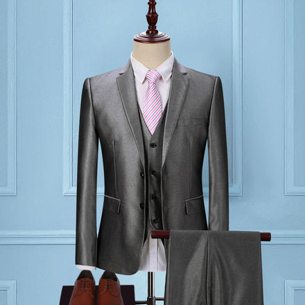 【赠衬衫领结领带】男士时尚亮面结婚西服套装