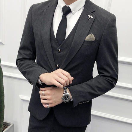 【送衬衫领结领带】男士经典灰商务西服套装