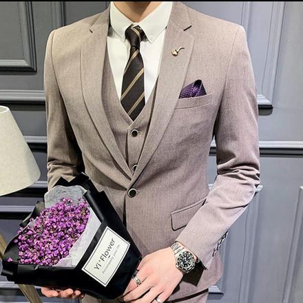 【送衬衫领结领带】男士经典修身西服套装