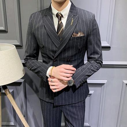 【送衬衫领结领带】男士轻熟修身西服套装