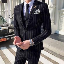 【送领结领带】男士轻熟条纹西服套装