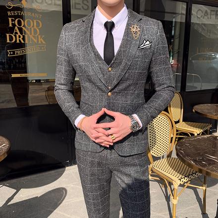 【送领结领带】男士英伦贵族格子西服套装