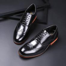 英伦风头层真皮雕花布洛克男鞋绅士鞋