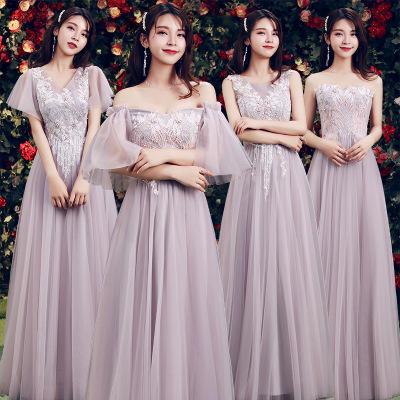 《爱的羽冀》精美刺绣显瘦长款闺蜜团伴娘服