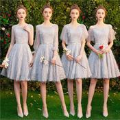 《白兰鸽》灰色流苏短款气质显瘦伴娘服