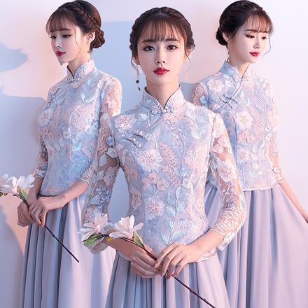 《锦年》中式灰色气质显瘦姐妹团伴娘服