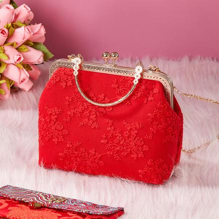 中国红蕾丝刺绣手提包秀禾婚包