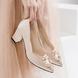 2种跟高可选 珍珠圆扣缎面香槟色粗跟婚鞋