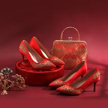 多种跟高 凤舞九天中式红色缎面刺绣秀禾裙褂婚鞋