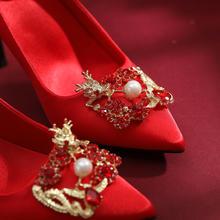 三种跟高 中式龙凤扣水钻尖头婚鞋 传统风格经典永恒