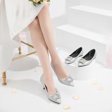 卢靖姗同款银色细跟闪光面尖头方扣水钻多种跟高婚鞋