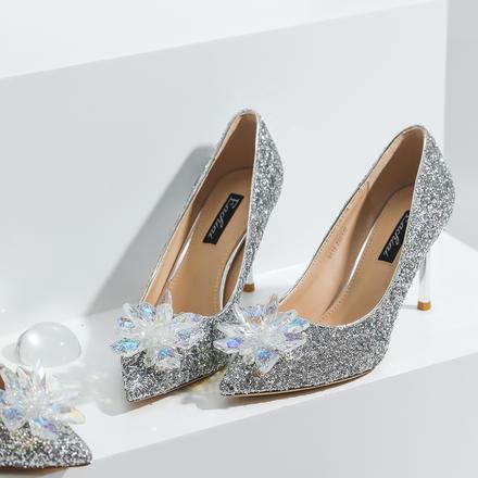 灰姑娘水晶鞋水钻尖头亮片细跟婚鞋