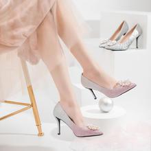 珍珠圆扣水钻尖头细跟渐变高跟鞋