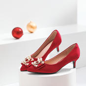 低跟3厘米  中式酒红色珍珠水钻高跟婚鞋