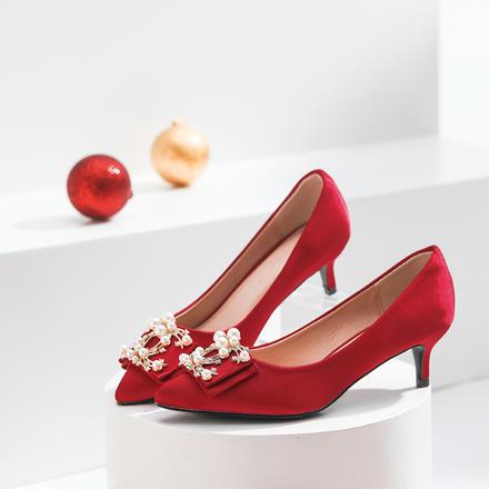低跟3厘米  中式酒紅色珍珠水鉆高跟婚鞋