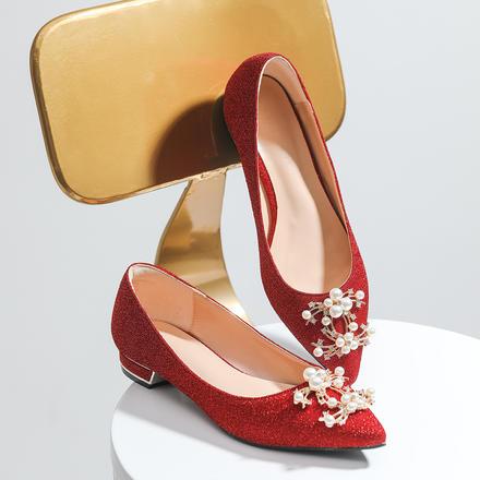 結婚平底婚鞋超軟珍珠扣閃光面紅色禮服低孕婦可穿