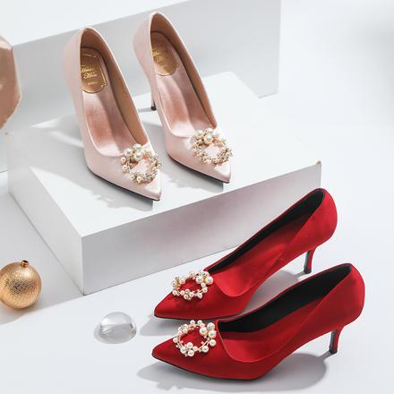 多種跟高可選 優雅圓扣珍珠新娘高跟婚鞋