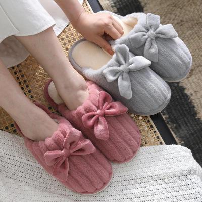 爆款冬季蝴蝶结可爱厚底毛毛情侣家居棉拖鞋