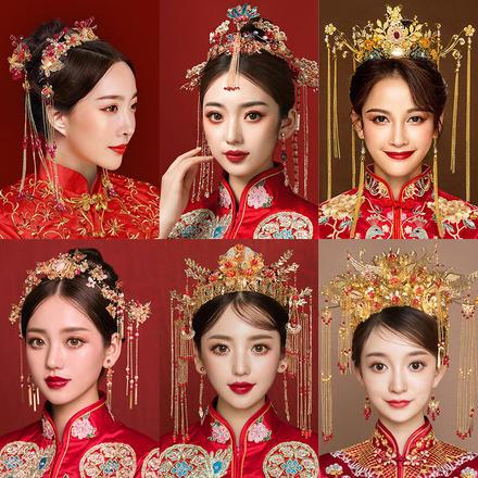 【2月2日陆续发货】中式新娘结婚秀禾服头饰套装