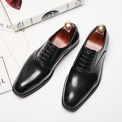 绅士亮面真皮男士正装商务皮鞋新郎婚鞋