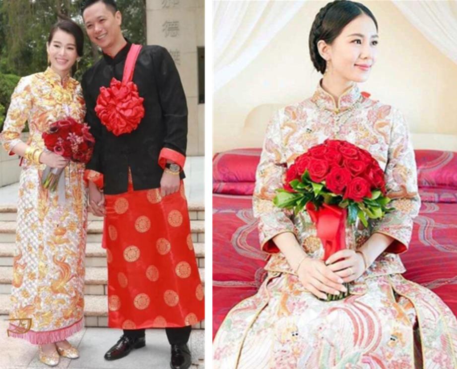 明星结婚唐装中式礼服龙凤褂图片