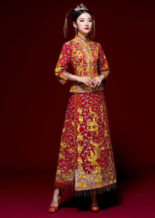 唐装结婚礼服龙凤褂款式1
