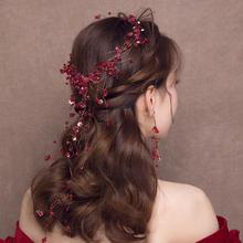 韩式手工编织水晶红色发带耳环套装