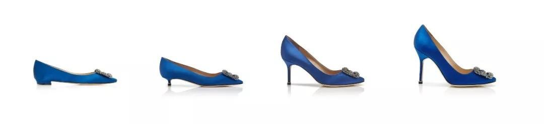 MB蓝色缎面方扣高跟鞋