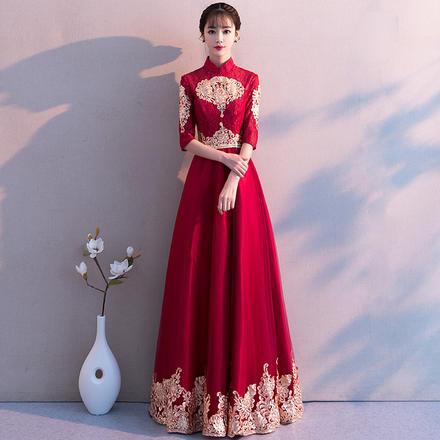 中式立领蕾丝刺绣显瘦长款敬酒服