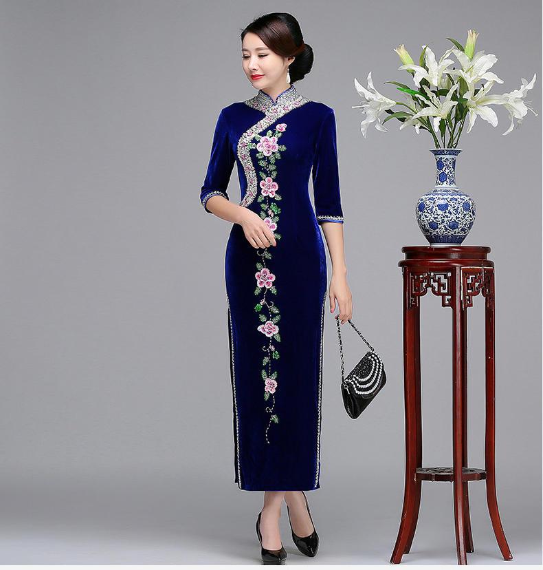 婚礼妈妈中式立领复古旗袍