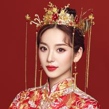 中式皇冠长款流苏新娘结婚头饰
