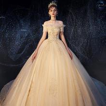 王妃•欧式显瘦遮孕一字肩婚纱•送三件套