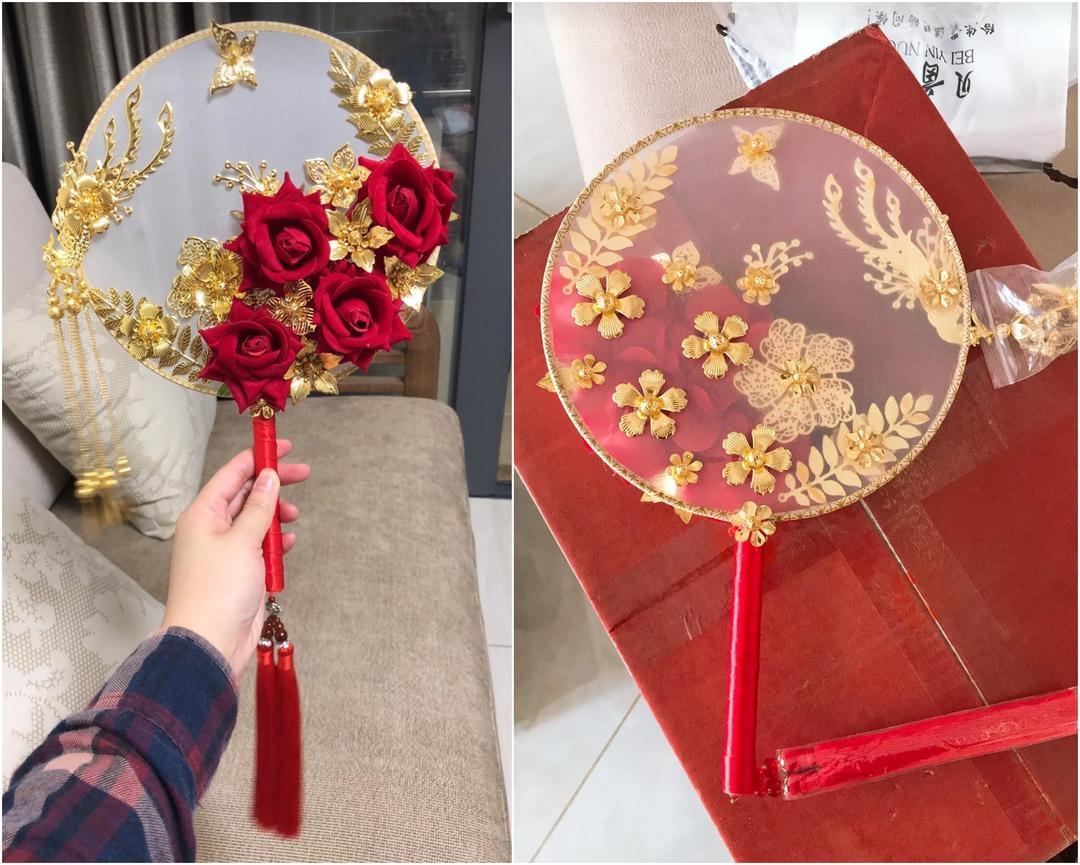 凤凰花开新娘团扇