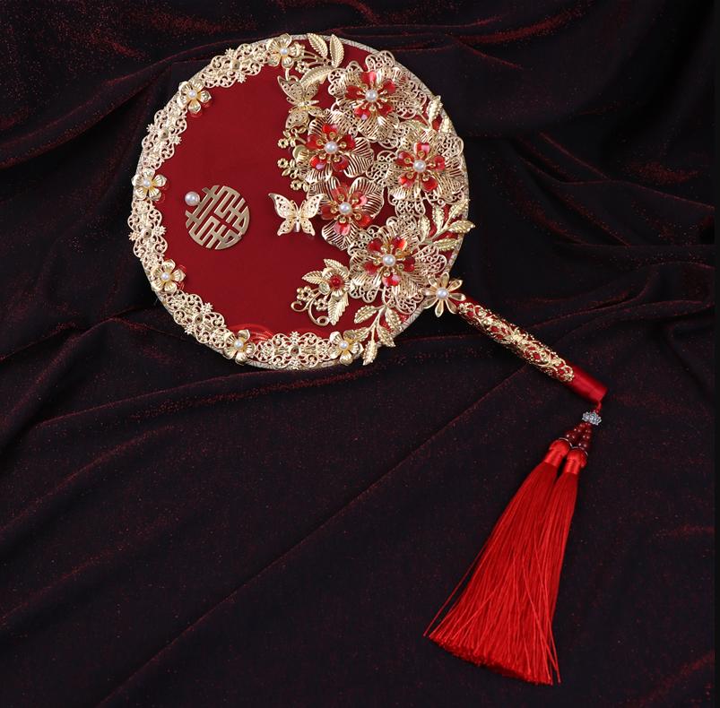 红豆新娘复古团扇