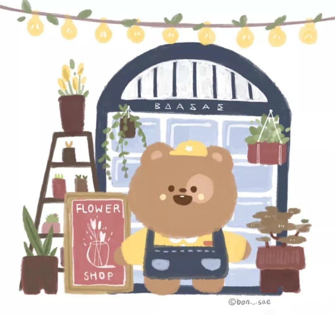 手绘风小熊插画