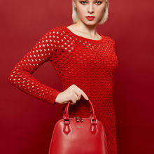 PUCCA女大容量斜挎包真皮贝壳包结婚包包红色新娘包