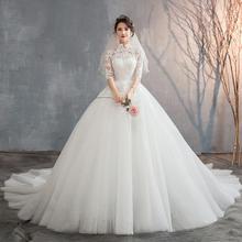 【2月3日陆续发货】中式立领蕾丝中袖婚纱•送三件套