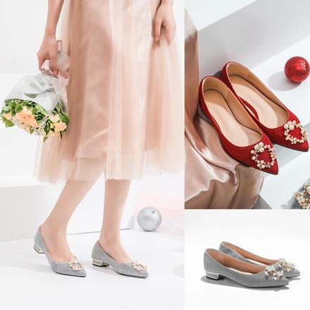 超软珍珠扣闪光面红色礼服低跟2cm婚鞋孕妇可穿