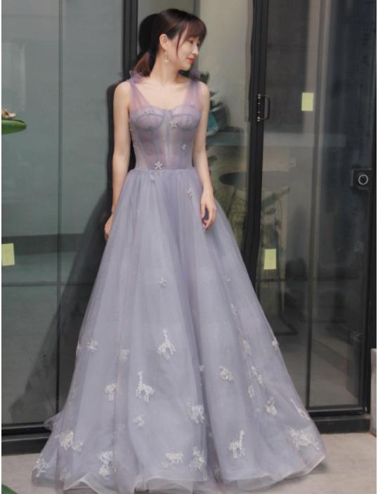 淡紫色婚宴晚礼服